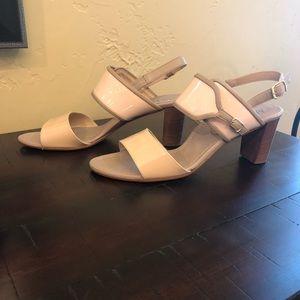 Anyi Lu Nude and Tan chunky heel sandal